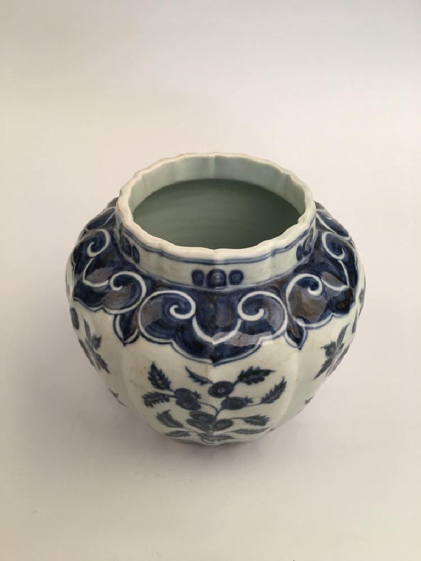 Chinese Blue and  White Porcelain Jar with Xuande Mark - 3