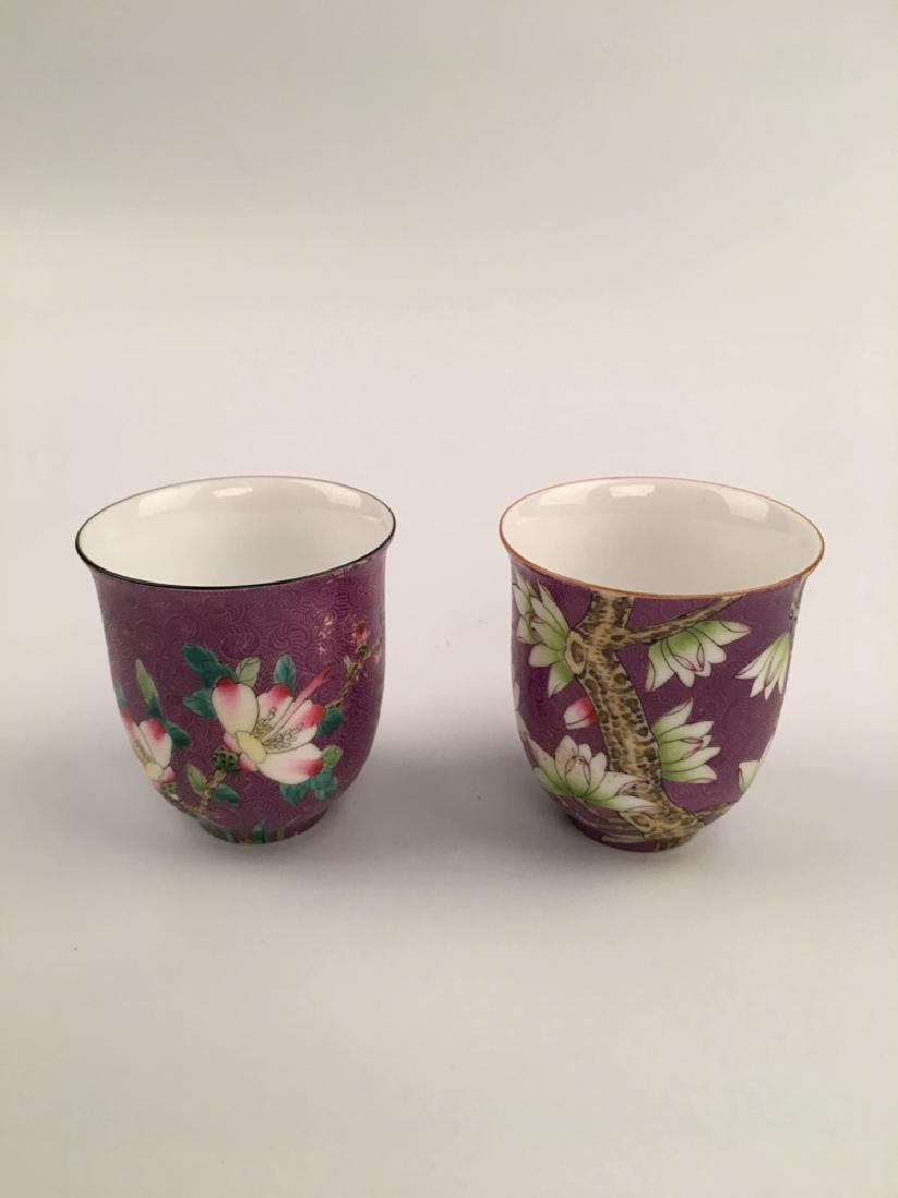 A Pair Famille Rose Porcelain Cups
