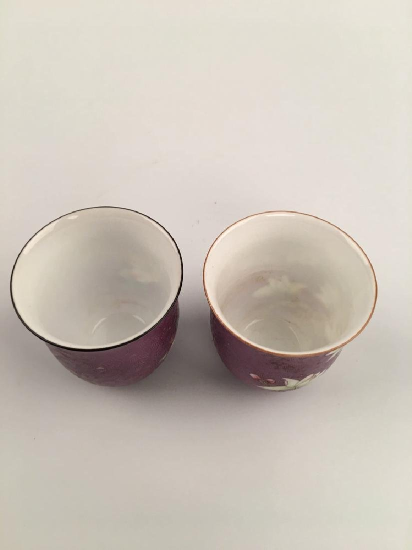 A Pair Famille Rose Porcelain Cups - 3