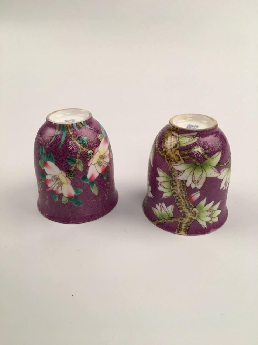 A Pair Famille Rose Porcelain Cups - 4