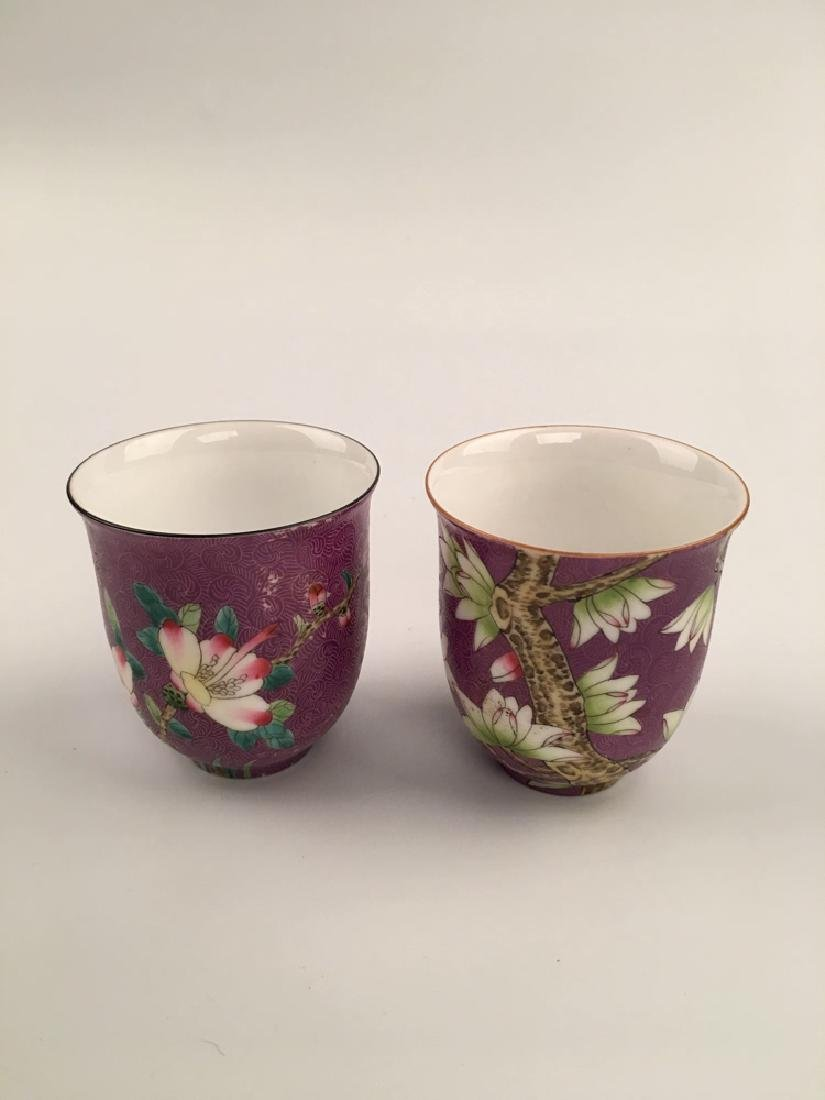 A Pair Famille Rose Porcelain Cups - 6