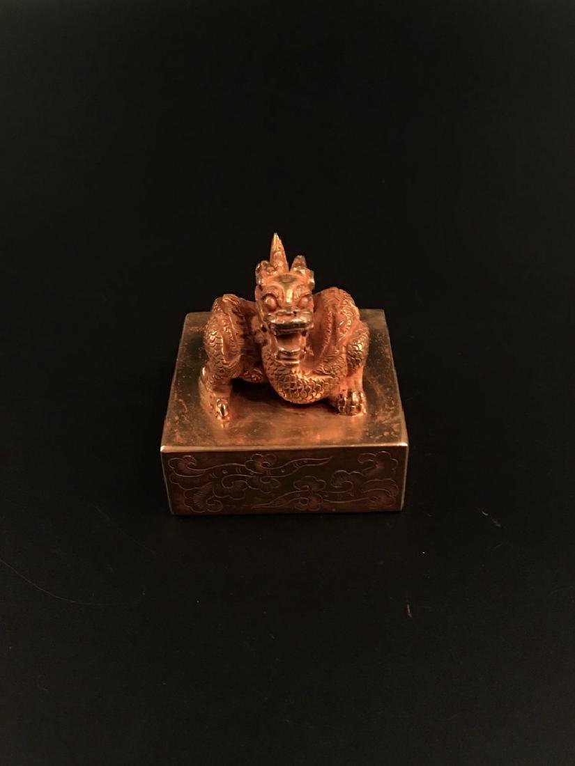 Chinese Gilt Bronze Dragon Seal