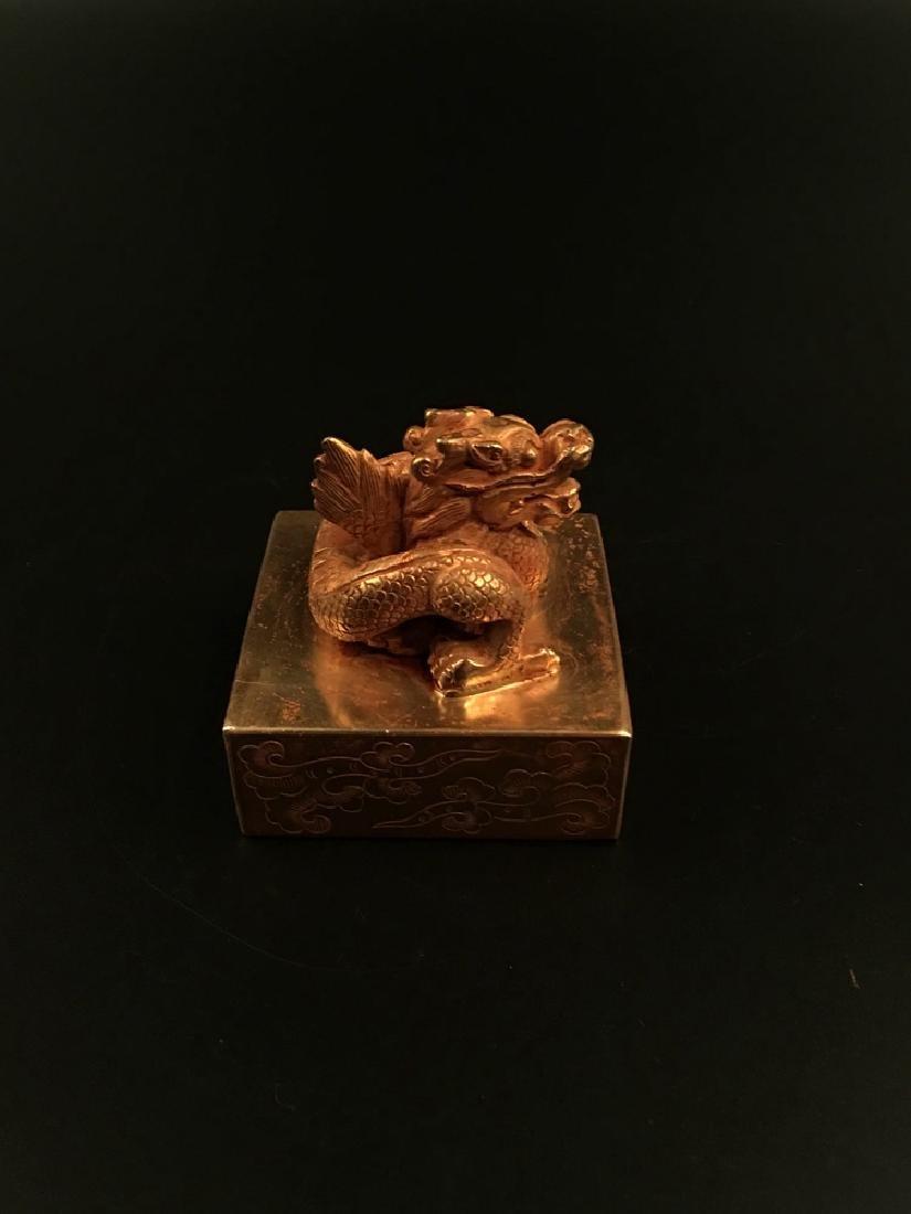 Chinese Gilt Bronze Dragon Seal - 2