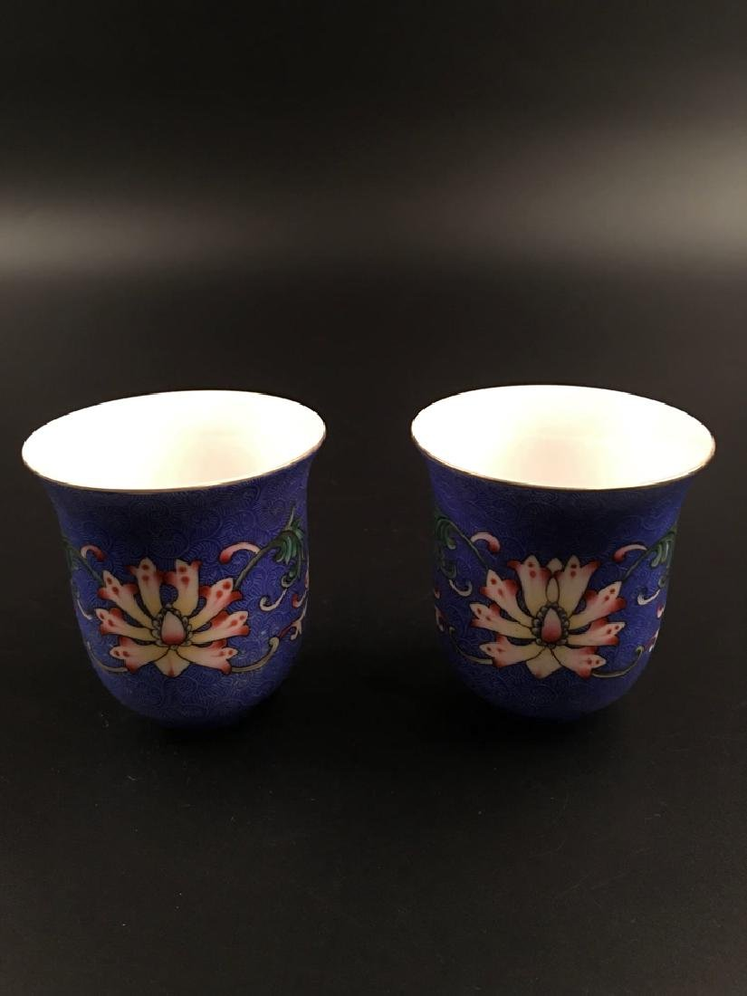 A Pair Chinese Famille Rose Porcelain Wine Cup - 4