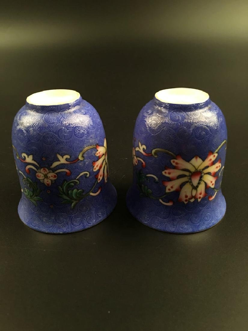 A Pair Chinese Famille Rose Porcelain Wine Cup - 6