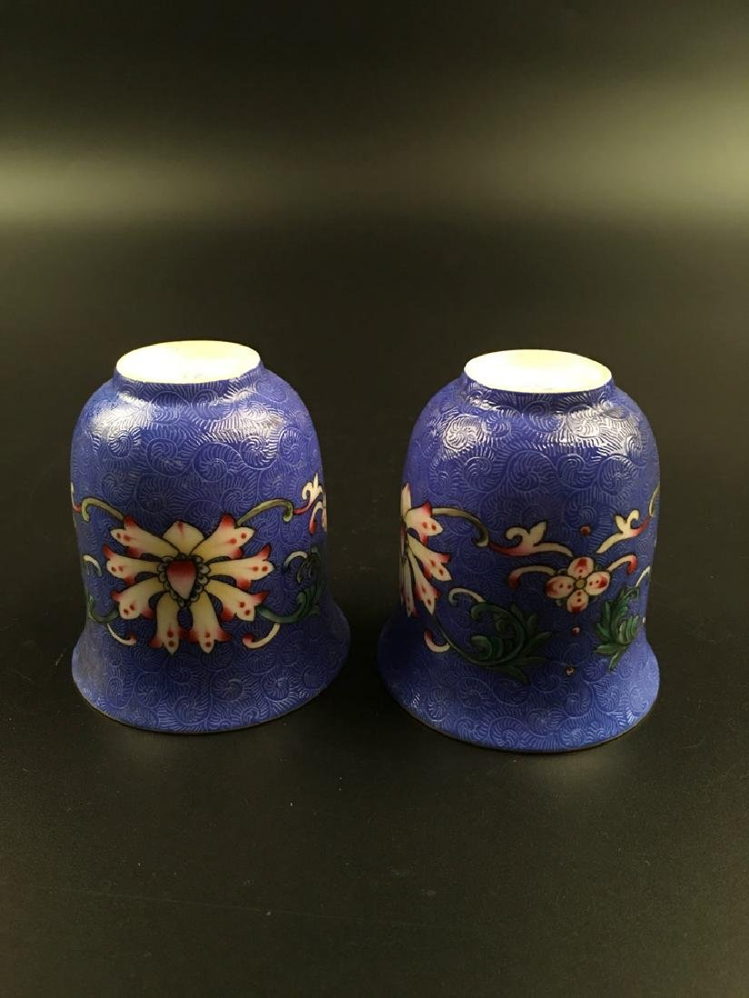 A Pair Chinese Famille Rose Porcelain Wine Cup - 7