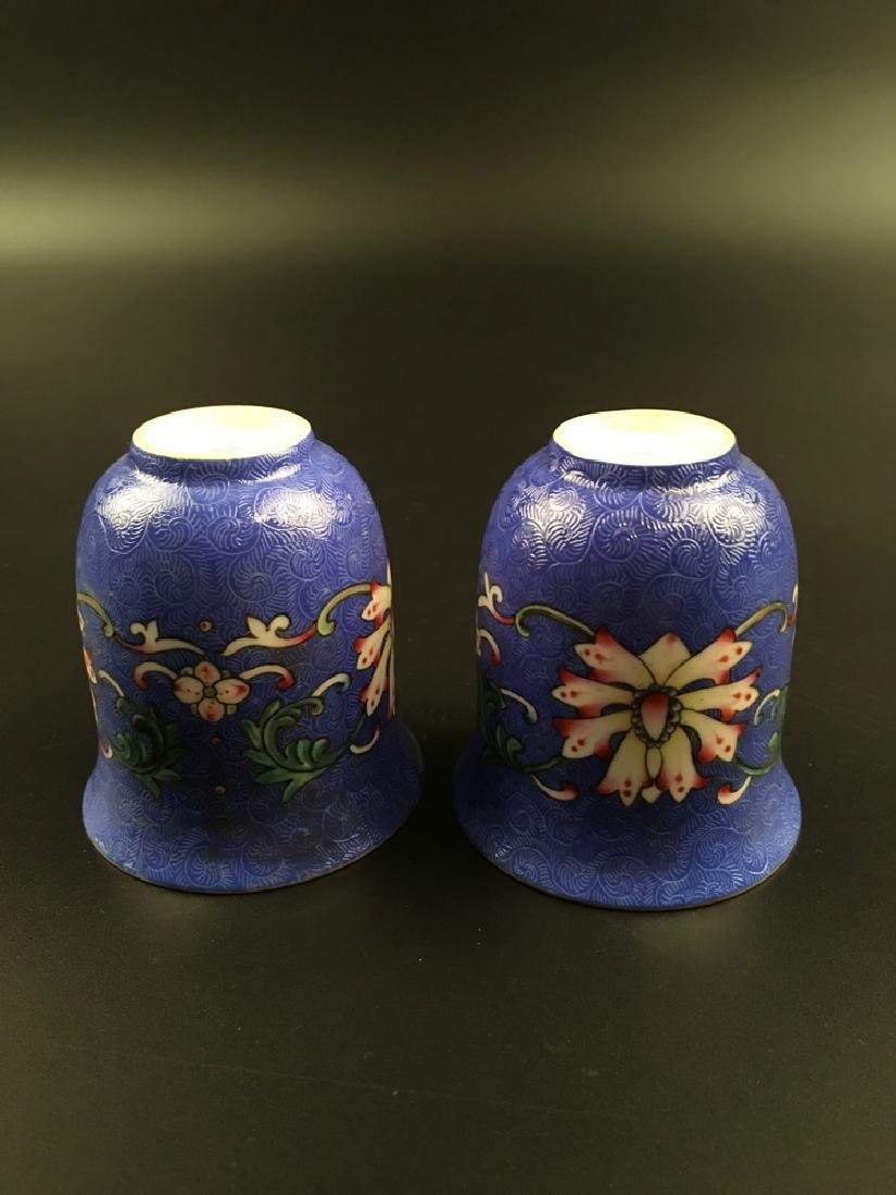 A Pair Chinese Famille Rose Porcelain Wine Cup - 8