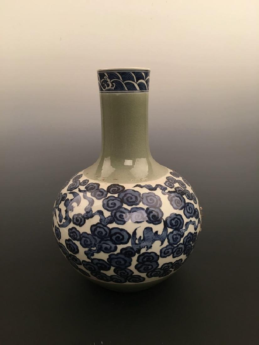 Chinese Blue and Green Porcelain Vase with Yongzheng