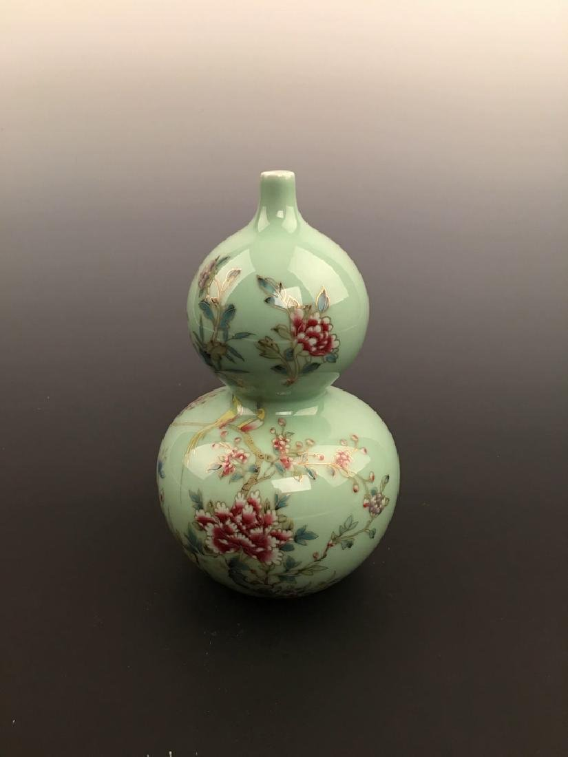 Chinese Green Glazed Double Gourd Vase with Qianlong