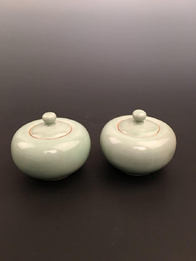 a Pair Chinese Apple Green Porcelain Brush Washer