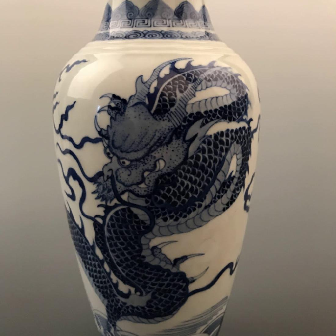 Chinese Blue and white Dragon Vase with Kangxi Mark - 2