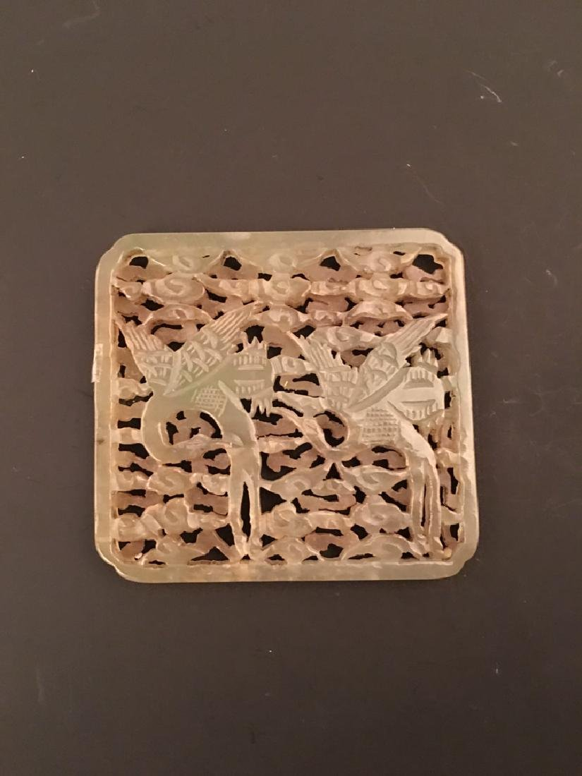 Chinese Green Jade Plaque With Cranes Openwork
