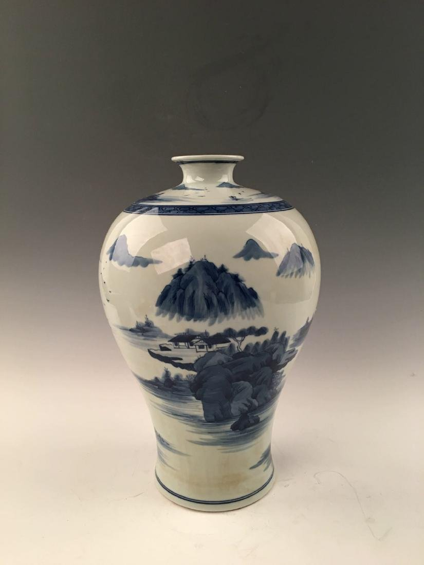 Chinese Blue&White Landscape Meiping Vase With Kangxi