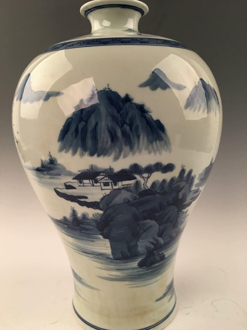 Chinese Blue&White Landscape Meiping Vase With Kangxi - 2