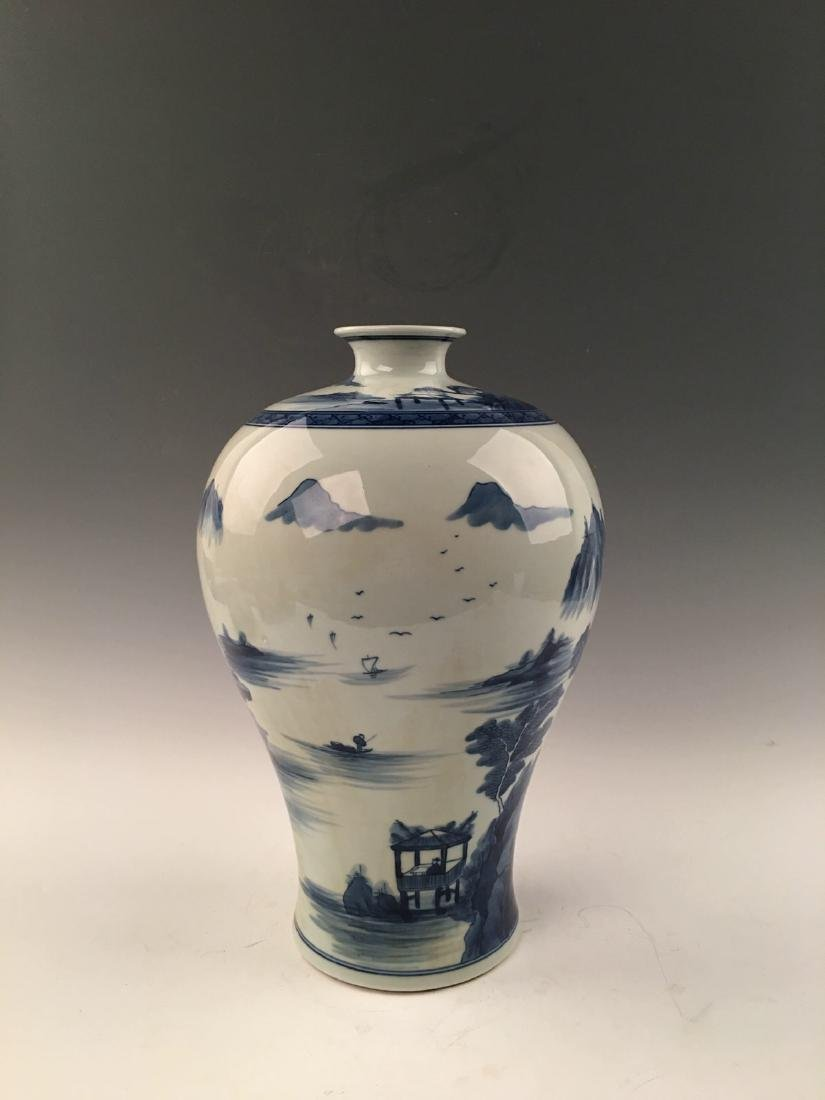 Chinese Blue&White Landscape Meiping Vase With Kangxi - 4