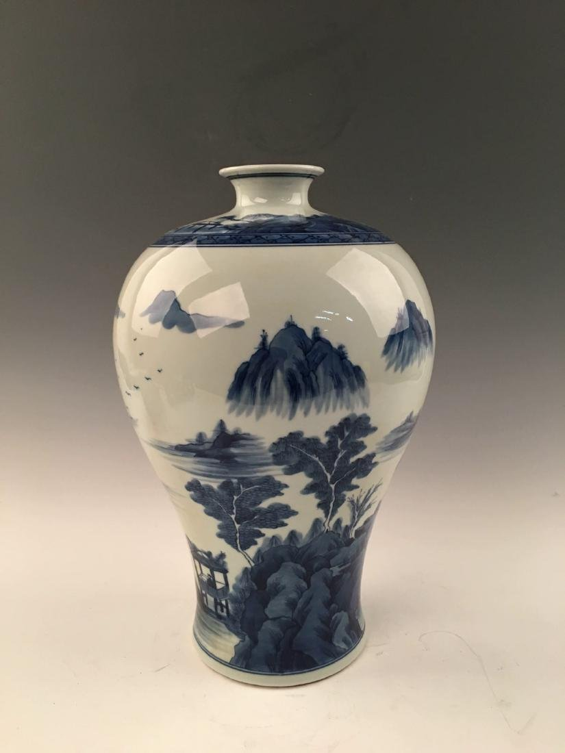 Chinese Blue&White Landscape Meiping Vase With Kangxi - 6