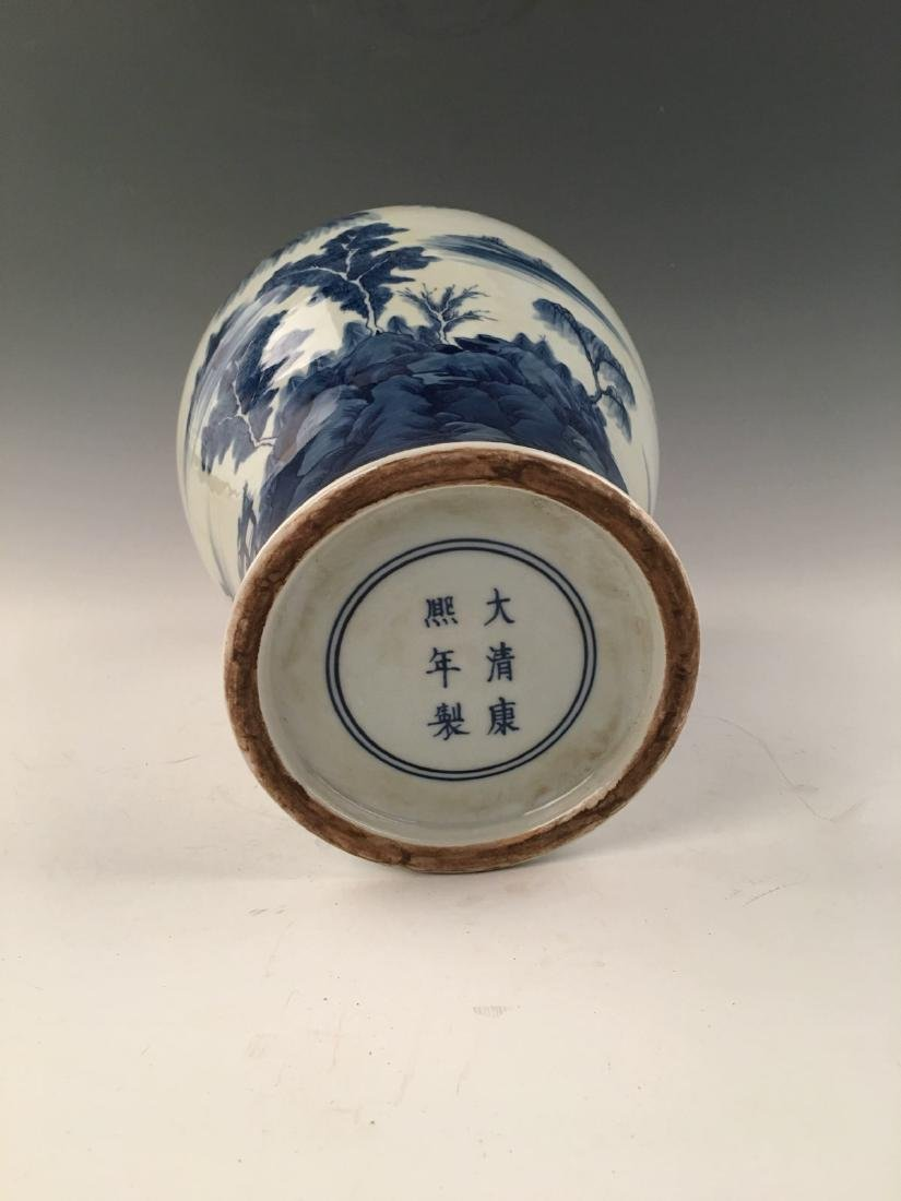 Chinese Blue&White Landscape Meiping Vase With Kangxi - 7