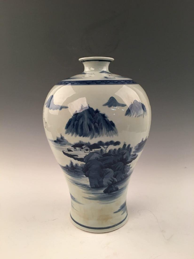 Chinese Blue&White Landscape Meiping Vase With Kangxi - 8