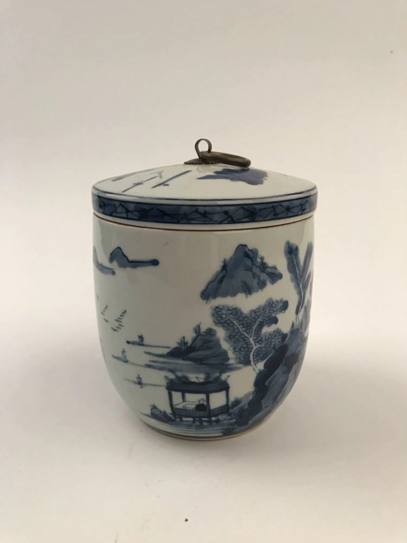 Chinese Blue and White Jar with Cover - 6
