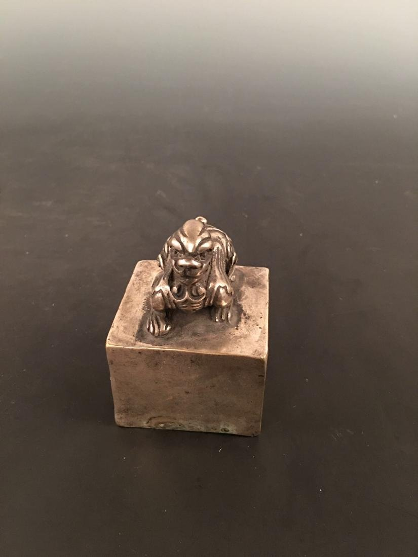 Chinese Silver Beast Knob Seal