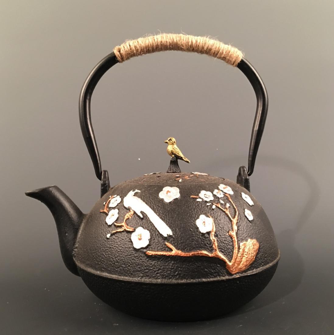 Chinese Iron 'Bird & Flower' Teapot