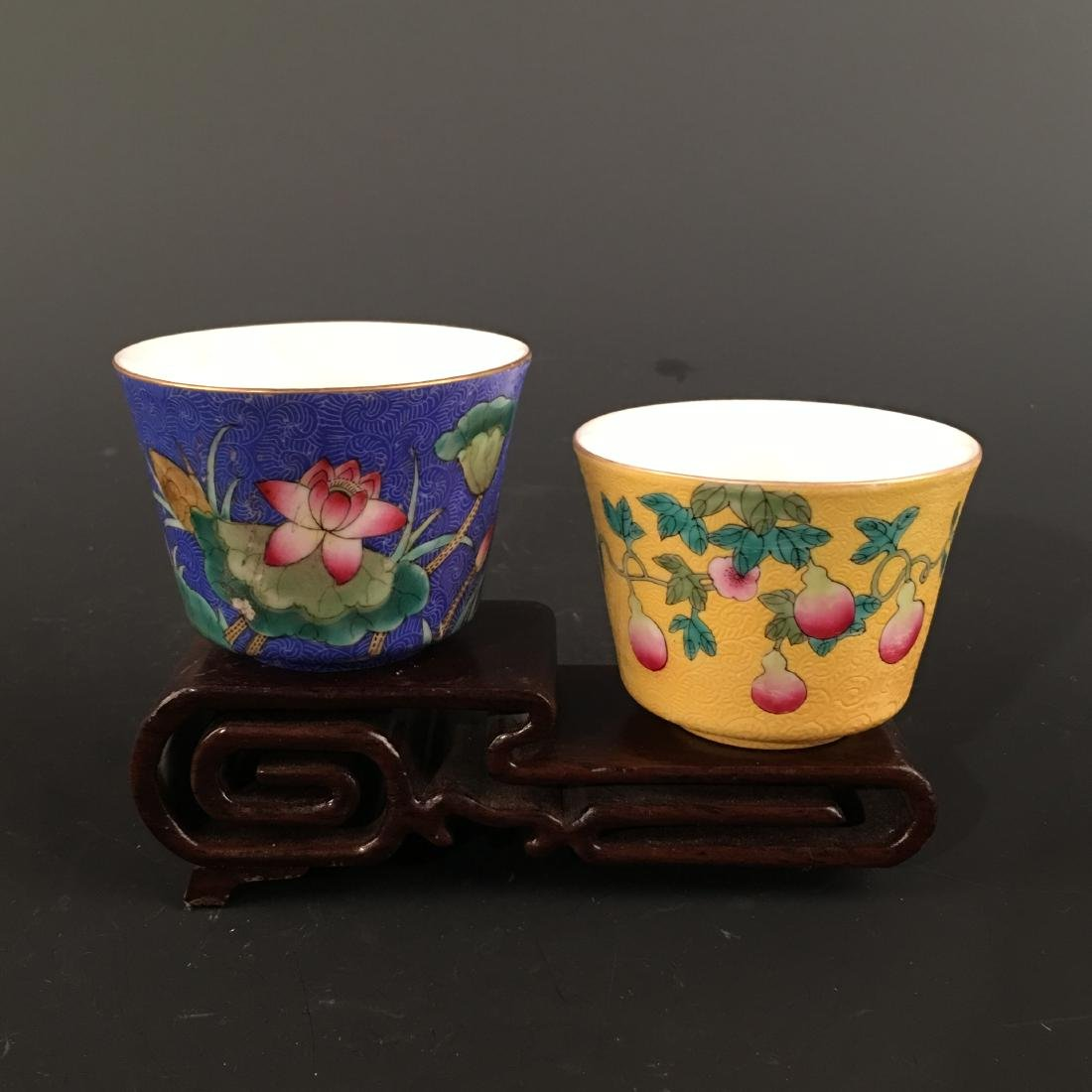 A Pair of Chinese Famille Rose Cup, Qianlong Mark