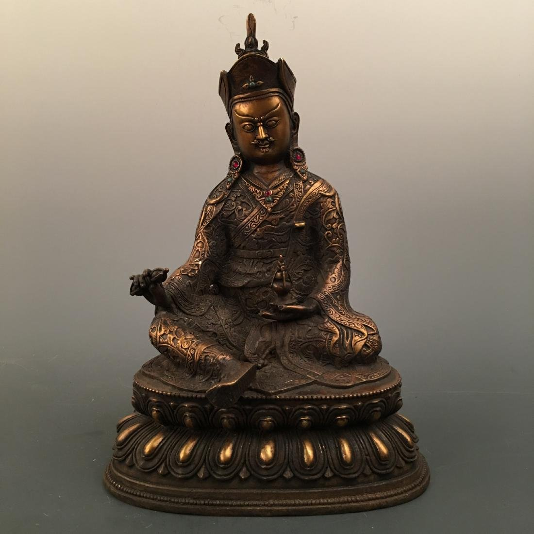 Chinese Bronze Buddha Figure Inlaid Gemstones
