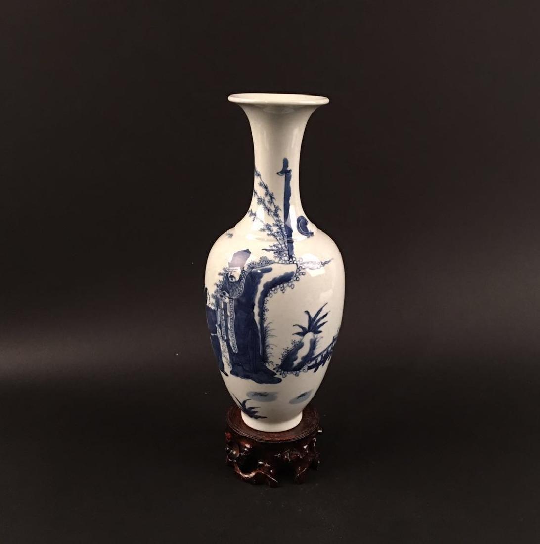 Chinese Blue-White Porcelain Vase, Kangxi Mark