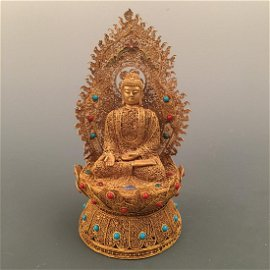 Chinese Gilt Amitabha Figure Inlaid Gemstones