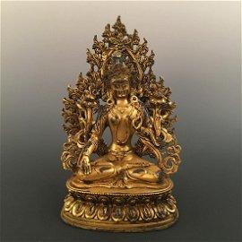 Chinese Gilt Bronze Seated Maitreya Inlaid Gemstones