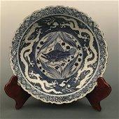 Chinese Blue-White 'Fish & Dragon' Dish