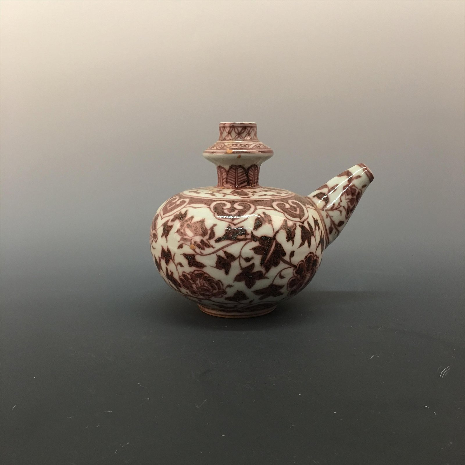 Chinese Copper Red Glaze Flower Teapot