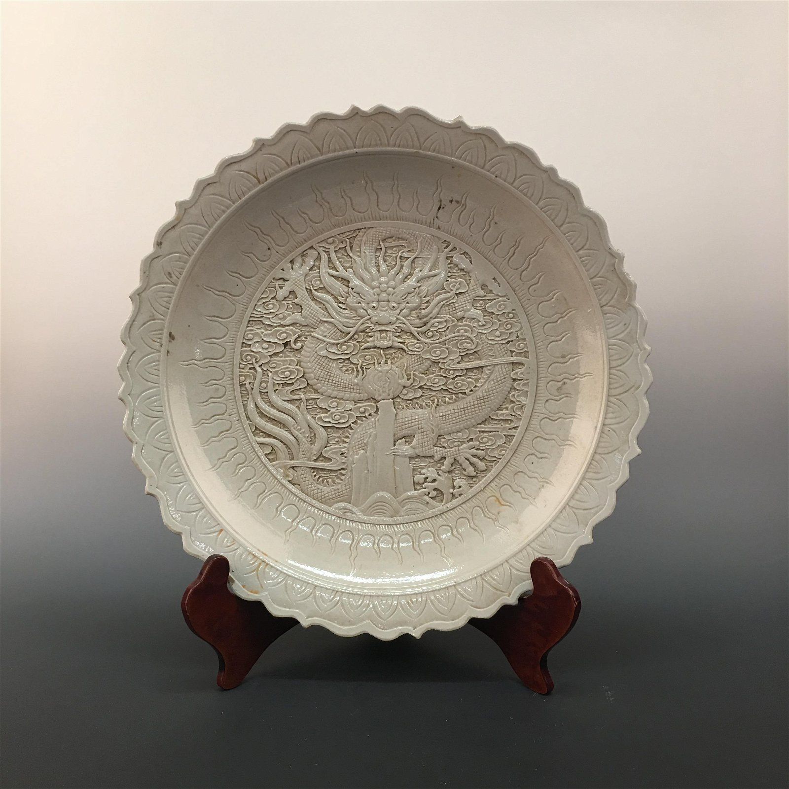 Chinese Glazed Engraved 'Dragon' Plate