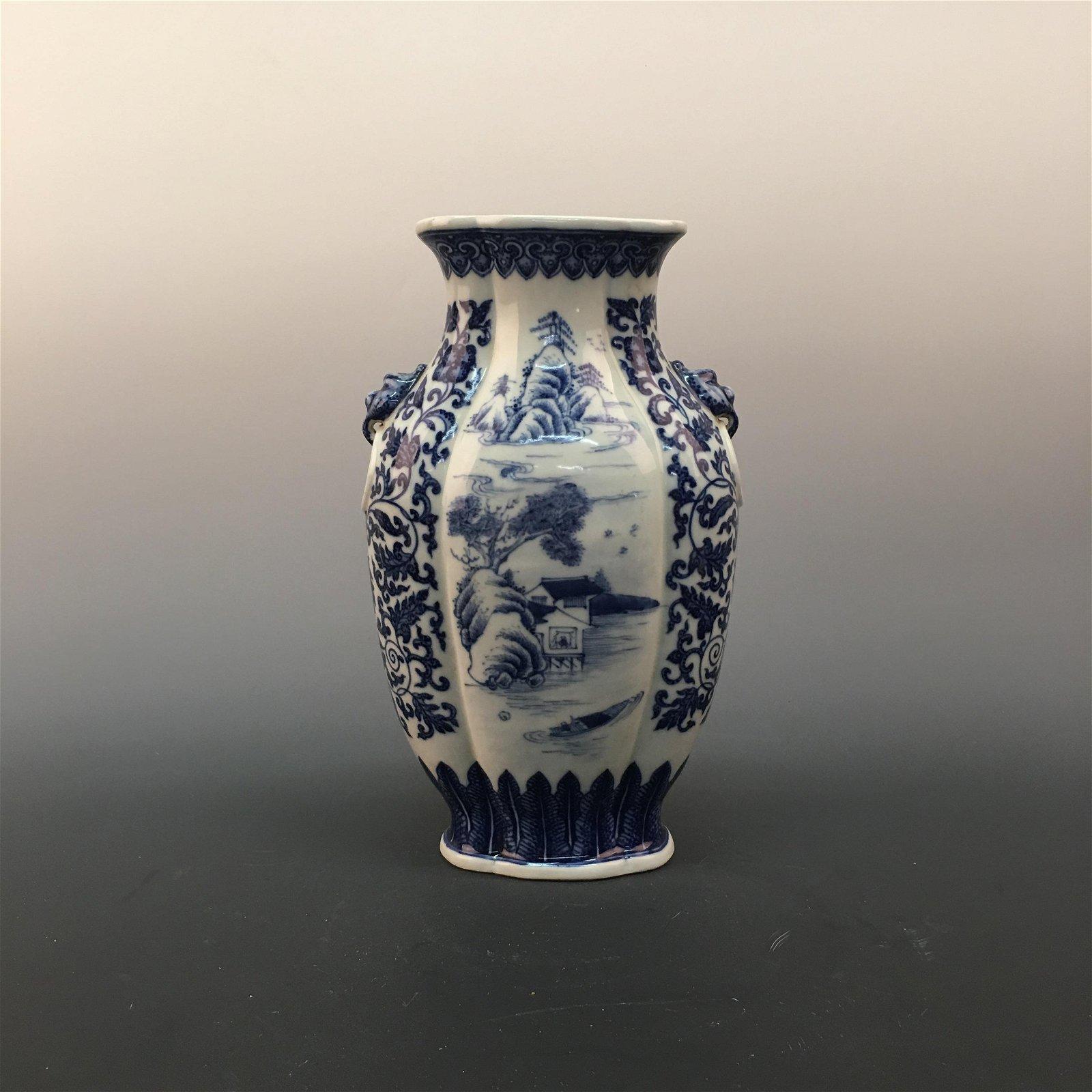 Chinese Blue-White 'LandScape' Porcelain Vase, QianLong