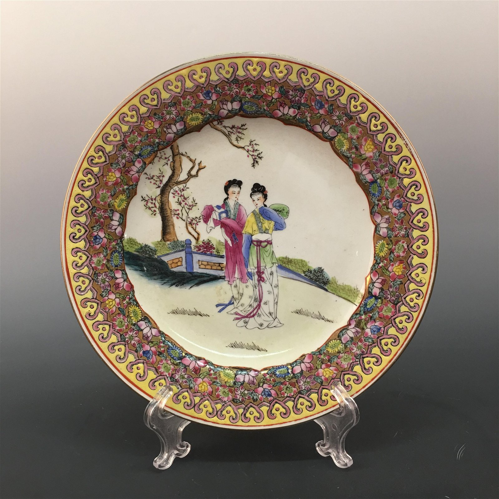 Chinese Famille Rose Plate, Qianlong Mark