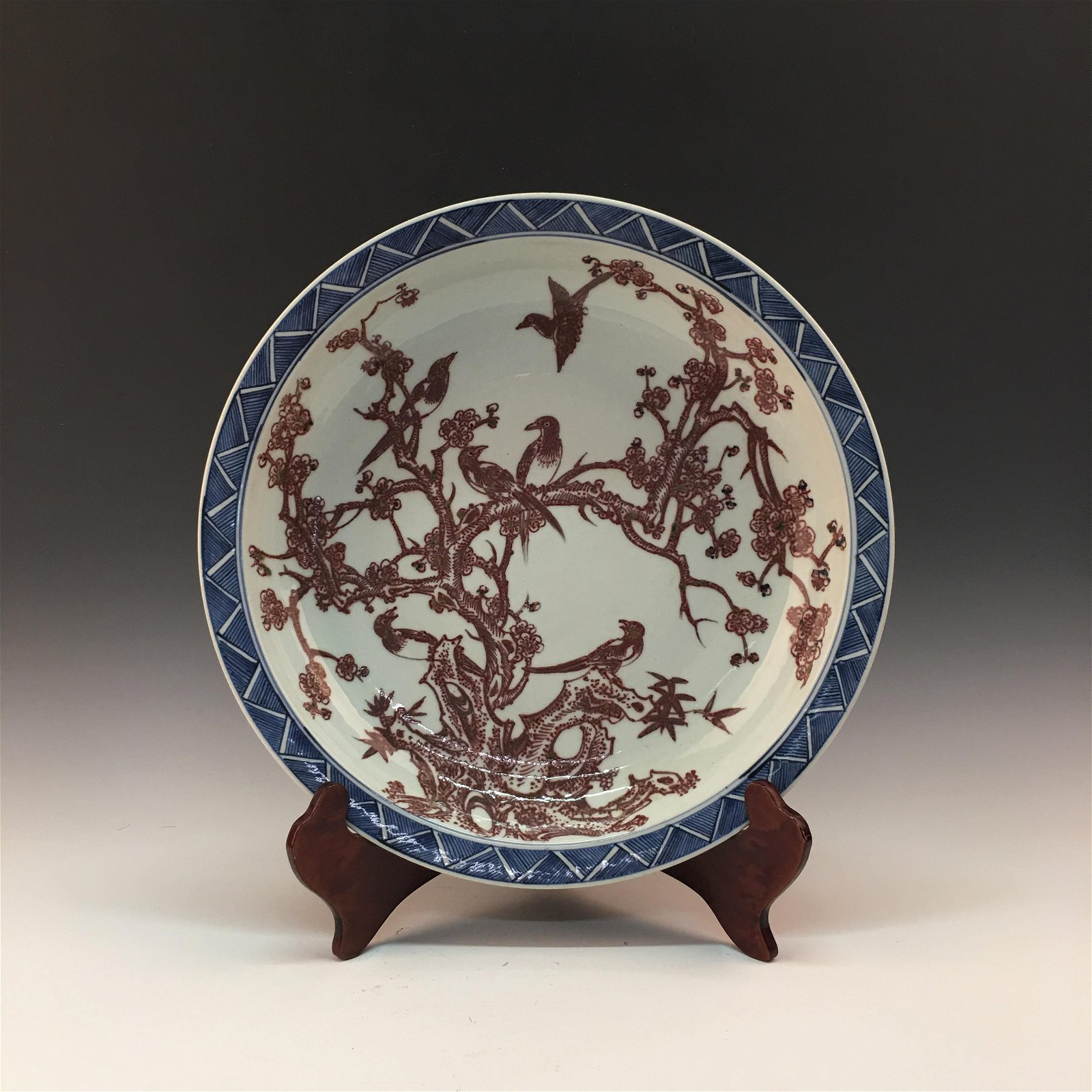 Chinese Blue-White Copper Red Plate With Qianlong Mark