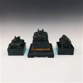 Three Pieces Of Bi Jade Dragon Seal
