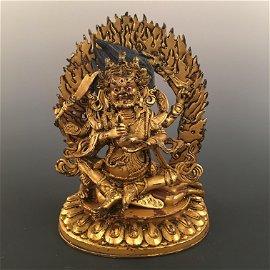 Chinese Gilt Bronze Vajrapani Figure
