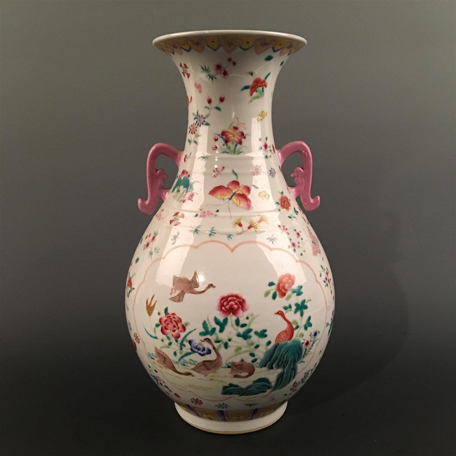 Chinese Famille Rose 'Bird & Floral' Vase, Qianlong