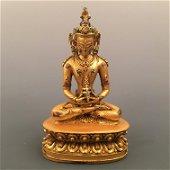 Chinese Gilt Bronze Amitayus Figure Inlaid Gemstones