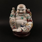Chinese Famille Rose 'Happy Buddha and Kids' Figure