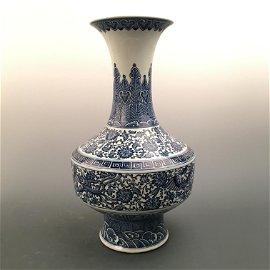 Chinese Blue-White 'Flora' Vase, Qianlong Mark