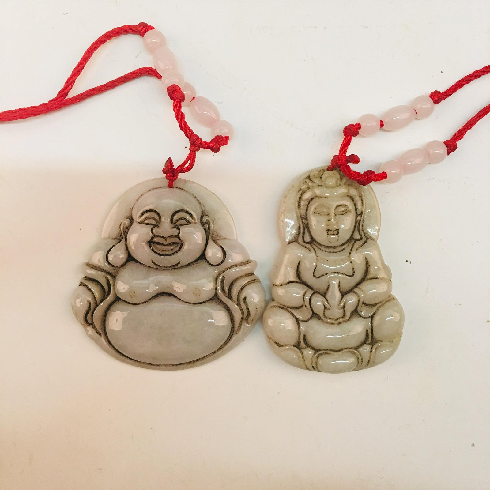 A Pair of Chinese Jade Buddha Pendant