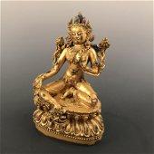 Chinese Gilt Bronze Tara Inlaid Gemstones