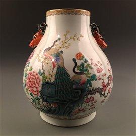 Chinese Famille Rose Porcelain Vase, Deer Heads Handle