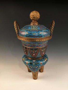 Fine Chinese Gilt Bronze Cloisonne Tripod Censer