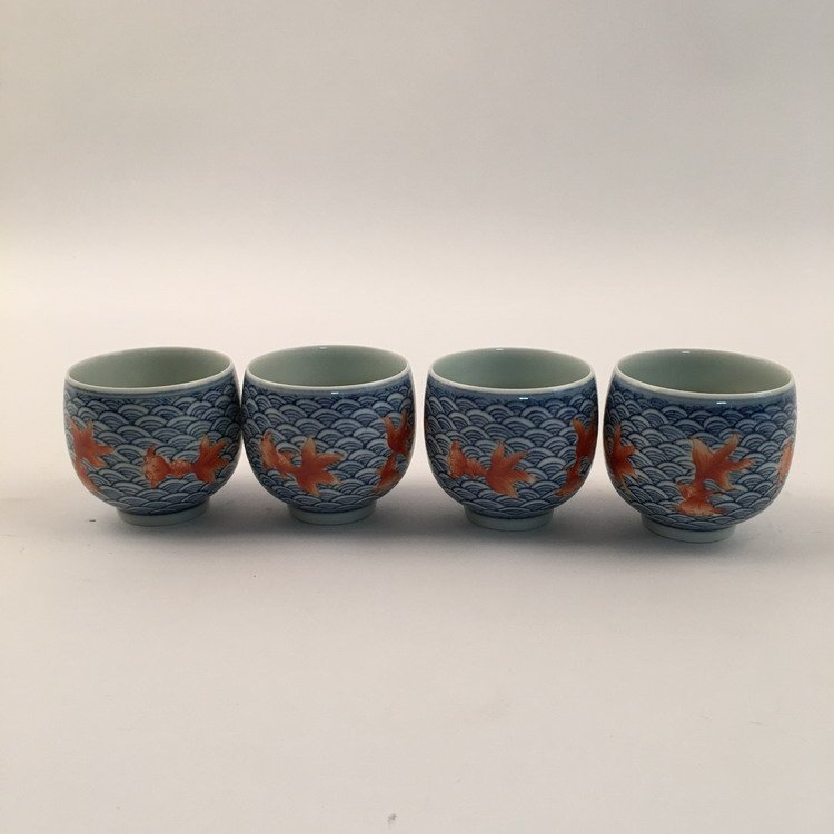 Four Piece Blue With Red Gold Fish Wine Cups
