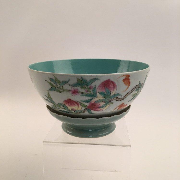Chinese Famille Rose Lotus Base Bowl
