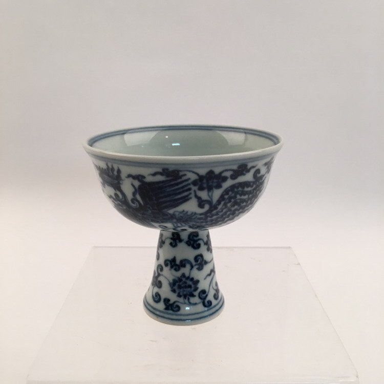Chinese Blue and White Phonix Cup