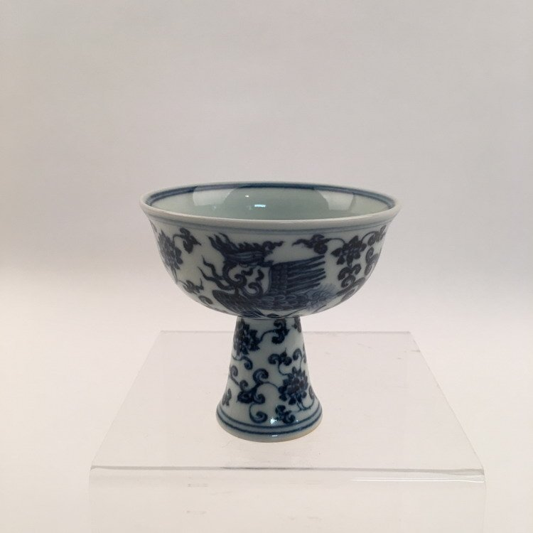 Chinese Blue and White Phonix Cup - 3